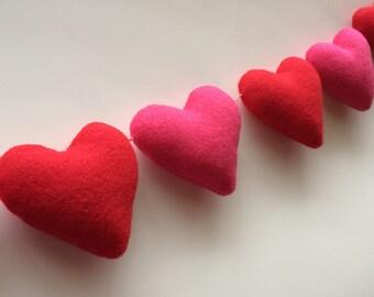Felt Valentine Garland-Valentine Felt Garland-Felt Heart Garland-Valentine Heart Garland-Heart Garland-Valentine's Day Garland-Felt Hearts