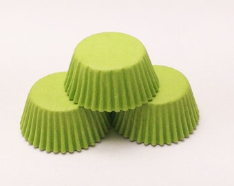 48 Lime Green Mini Size Cupcake Liners Baking Cups Greaseproof