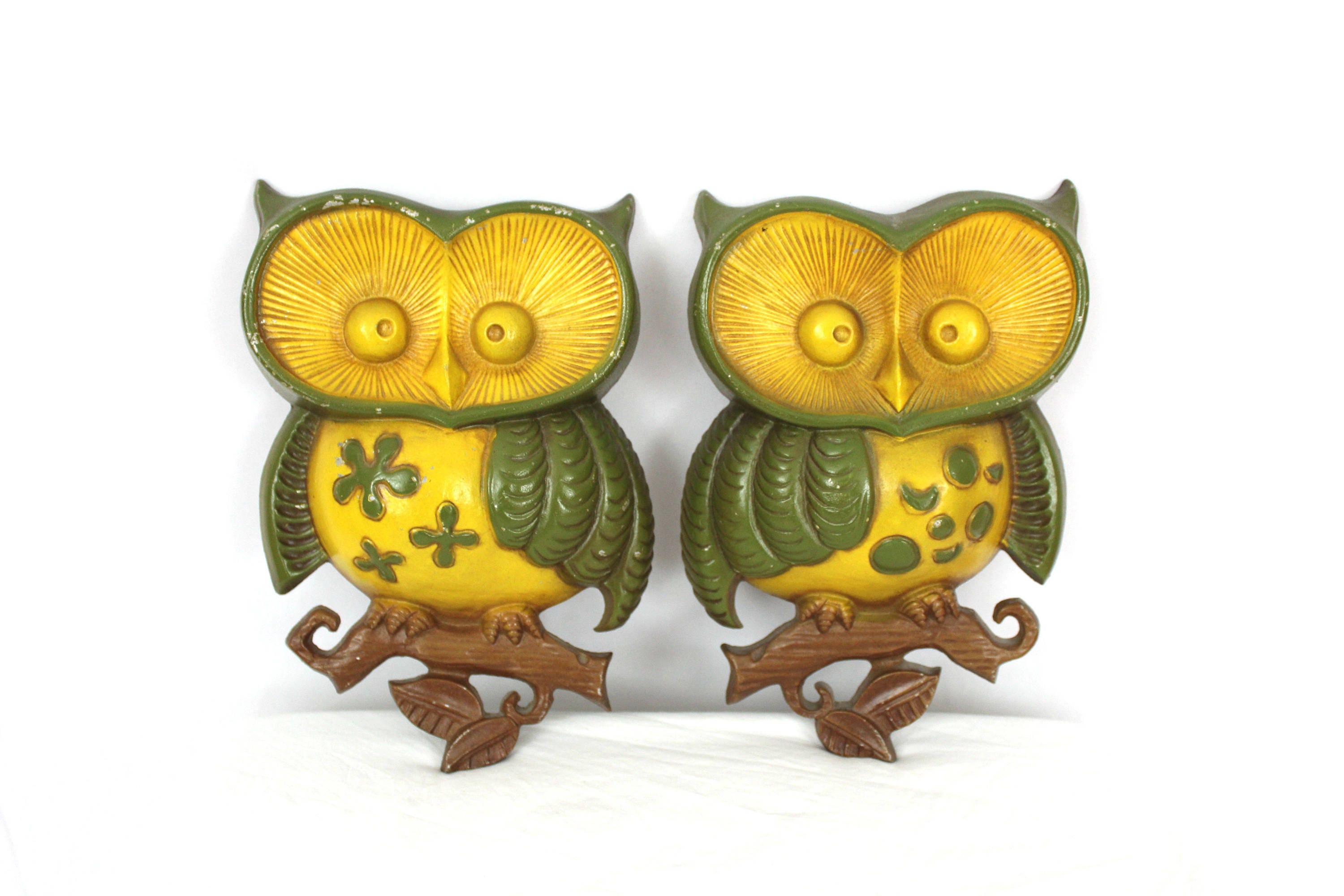 2 Vintage 70s Owl Wall Ornaments. Retro Green Yellow 70s Owl Home ...