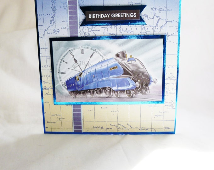British Railways, Mans Birthday Card, Greeting Card, Blue Train, Locomotive, Male Any Age, Dad, Son, Nephew, Brother, Uncle