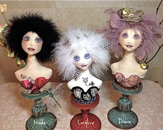 TP402E - Woodland Fairy Bust,  Cloth Doll Making Sewing  Pattern - PDF Download
