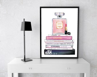 Chanel Perfume Watercolour, Art Print, Black, gold, Coco Chanel, no 5, Fashion Books, Watercolor, Fashion Illustration, couture lipstick