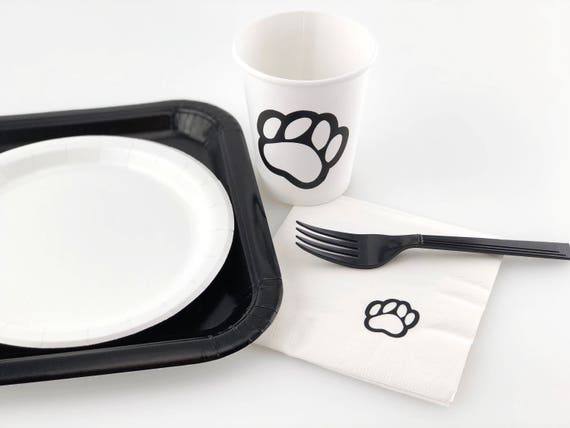 & Paws Party Set Dog Birthday Party Paw Print Paper Plates