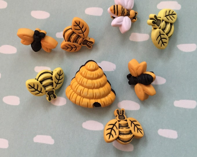 "Featured listing image: Bee Buttons, Packaged Novelty Button Assortment, ""Buzzin Around"" Style 4253 by Buttons Galore, Package Includes Bees and Hives"