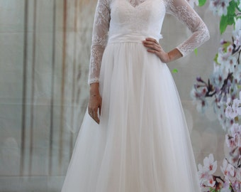 Long sleeves Lace wedding dress, white lace bridal gown