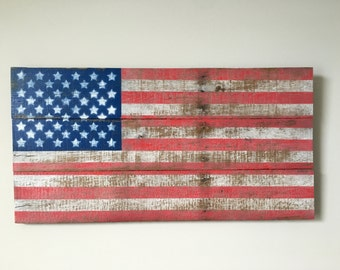 """Pallet American Flag Sign - Reclaimed Wood - USA Wall Art Large ~30"""" x ~16"""""""