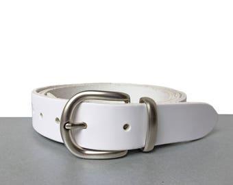 "White Leather Belt - 1"" 1/4 - Handmade In UK - Silver Buckle - Dress Belt - Waistbelt - Women Leather Belt - Summer Belt"