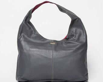 Handbag Moon/ full grain leather Medium size/light grey/ grape