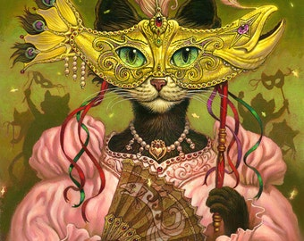 Mardi Gras Cat // 8 X 10 PRINT // Black Cat Ball // Halloween Cat // Mardi Gras Cat // Masked Cat // Giclee print
