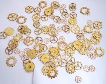 100 Gears cogs steampunk gold color large gold watch gears mechanism set