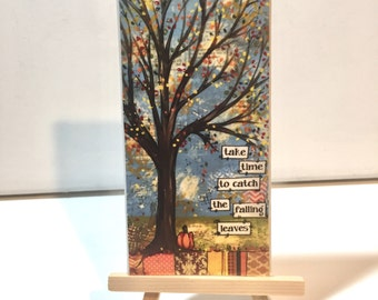 Fall Tree Print & Easel set, Autumn Tree, Fall Decor