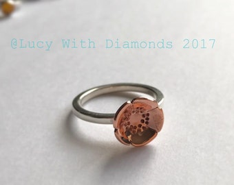 Sterling silver skinny stacking ring with copper flower poppy