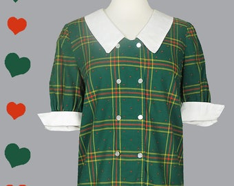 Shirt Vintage 50s Top M Green Red PLAID Short Sleeve Blouse Cuffs Collar White Cotton Party Rockabilly Pinup Swing