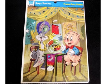 Bugs Bunny Puzzle - Bugs Bunny decor - Warner Bros puzzle -Vintage jigsaw puzzle -puzzle -vintage  Frame tray puzzle -  dated 1973, - # 6