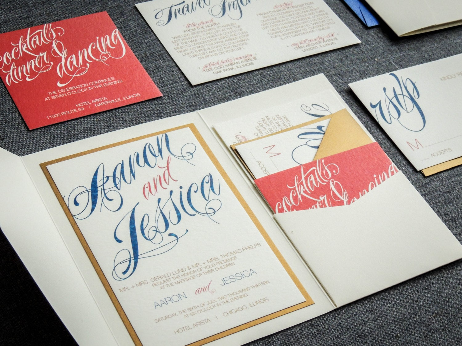 Coral and Navy Wedding Invitations Modern Script Invitations