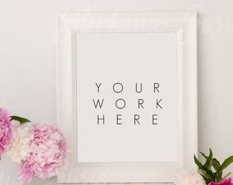 Vertical White Frame and Peonies Styled Mock up - 11x14 Frame Size - High Resolution jpg file