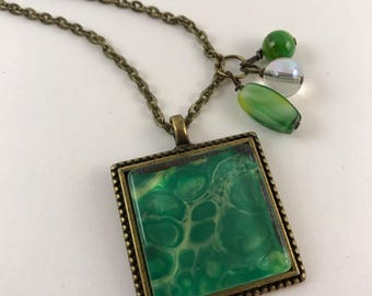 Green Square Antique Bronze Pendant and Necklace
