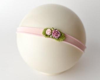 Tieback Headband, Pink Tieback, Pink Headband, Newborn Tieback, PInk Flower Tieback, Jersey Tieback, Flower Tieback, Newborn Headband