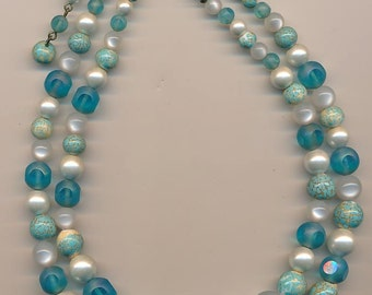 Vintage 2-strand glass bead necklace - aqua glass beads and faux pearls