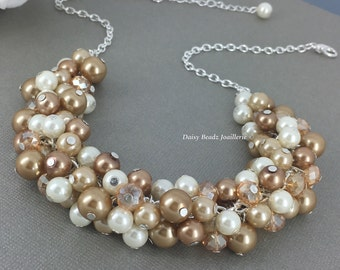 Champagne and Ivory Necklace Bridesmaids Jewelry Bridesmaid Gifts Shade of Champagne and Ivory NecklaceGift for Moms Brown