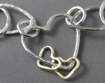 A Touch of Gold, Mama Metal: 18kt Gold Hearts, Circles, Drops, Add 18kt Gold to Custom, Semi-Custom, Cherished Links, 10-12 mm in Size