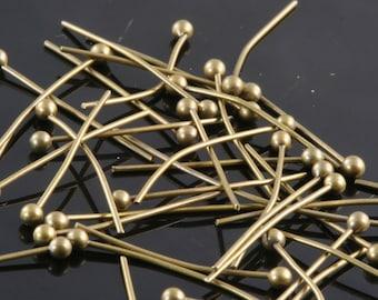 Ball head pin 200 pcs 35 mm 24 gauge( 0,55 mm ) Antique yellow brass  Head Pin Ball end HB3524