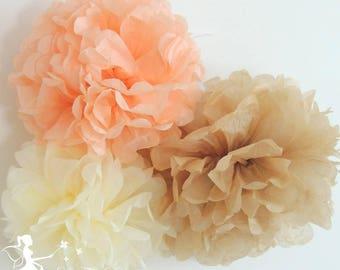 Lot 8 PomPoms tissue paper peach ivory coffee 15cm + 20cm + 25cm and 35cm