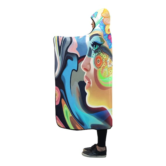 Psytrance Psychedelic Clothing Poncho Clothing Man Festival Hooded EDM Blanket Hooded Hippie Hooded Cloak Clothing Burning Cape Clothes wqRx71