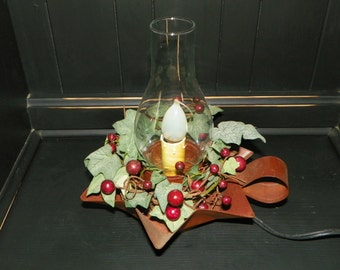 Metal Rustic Star Base Lantern with Silicone Bulb and Glass Chimney Rustic Large Burgundy Berries in a Ivy Wreath