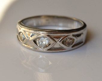 Vintage Ring, Rhinestone Band, Faux Wedding Band, Size 9