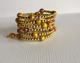 Yellow and Gold Wrap Around Beaded Bracelet