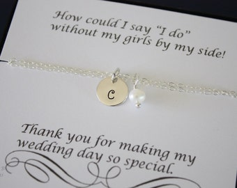 8 Bridesmaid Bracelet Personalized, Bridesmaid Gift, Bridesmaid Jewelry, Initial Charm, Thank you card, Pearl, Monogram Charm