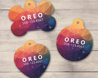 Sunset Galaxy Pet ID Tag, Geometric Galaxy Pet Tag, Custom Pet Tag, Personalized Dog Tag, Dog ID Tag, Dog ID, Pet Tag, Cat Tag (0019)