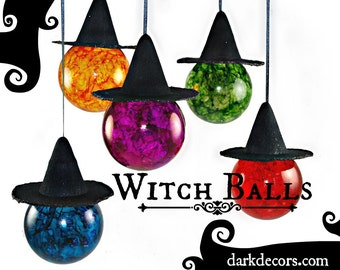 Witch Balls - Color Glass - Sun Catcher - Wiccan - Witch Hats - Dark Decor - Holiday Decor - Gifts under 25