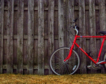 Red Bike and a Fence
