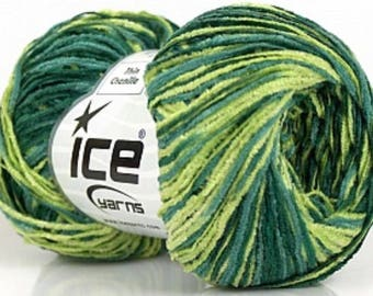 ICE Yarns Thin Chenille Green Shades one skein