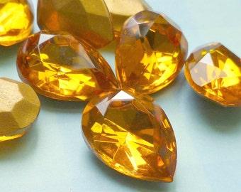 Two Czech Glass 18x13mm Topaz Pear Rhinestone Jewels (9-54-2)