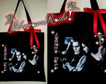 Johnny Depp Sweeney Todd Rhinestone Crystal Tote Book Bag Purse Glamour Glamour Rocks