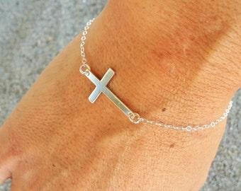 Silver Cross Bracelet, Sterling Silver Chain, Cross bracelet