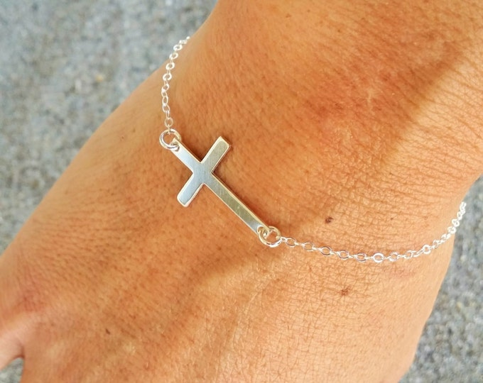 Silver Cross Bracelet, Sterling Silver Chain, Cross bracelet