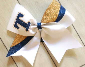Navy Blue and Gold Team Cheer Bows - Glitter Team Cheer Bows