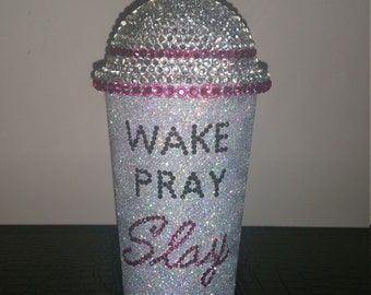 20 oz Dome Lid Rhinestone and Glitter Cold Drink Cup