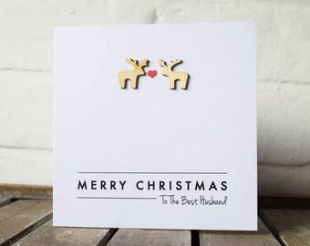 Couple Love Reindeer Christmas Card
