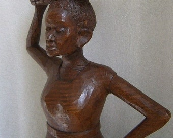 Vintage WHITTLE CARVED Wood Sculpture African Woman w POMEGRANATES Superb! 15.5""