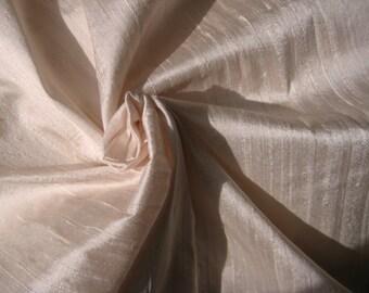 "Ivory Light Pale Pink Bridal 100% dupioni silk fabric yardage By the Yard 45"" wide"