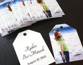 Bat Mitzvah Favor Tags or Gift Tags with Photo and Note (Ticket Tags)