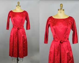 Pucker Up Dress  / 50s  Dress /  1950s Red Satin Party Dress / Small