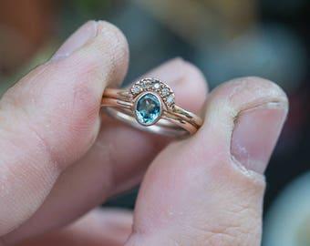 Natural Paraiba Tourmaline Ring Copper Bearing Tourmaline Wedding Set African Paraiba Tourmaline Seafoam Tourmaline Ring Gold Bridal Set