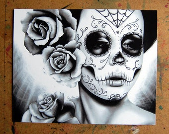 Day of the Dead Art - Dia De Los Muertos Sugar Skull Girl Portrait Felicity By Carissa Rose Signed Art Print - Black and White