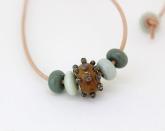 Sage Green Necklace, Handmade Glass Lampwork Beads, Glass Necklace, Adjustable Necklace, Bead Leather Necklace, Bead Necklace